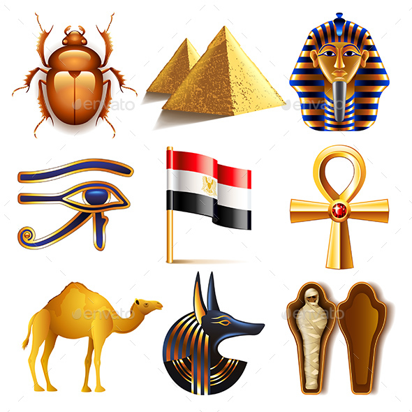 Egypt Icons Vector Set - Travel Conceptual