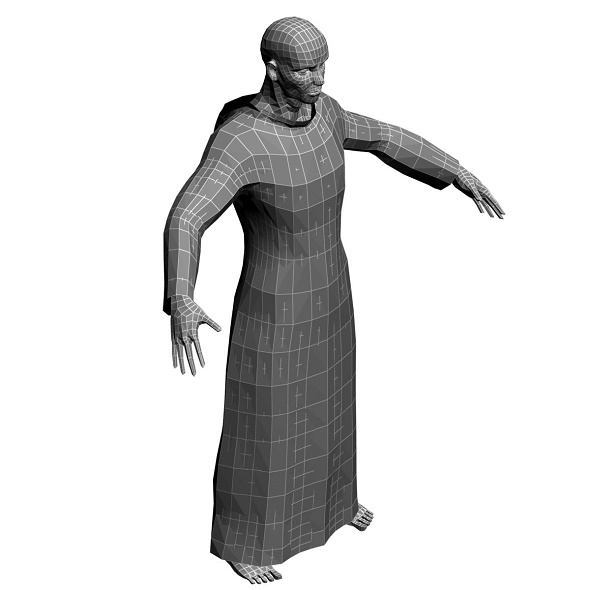 Low Poly Base Mesh Monah 2 - 3DOcean Item for Sale