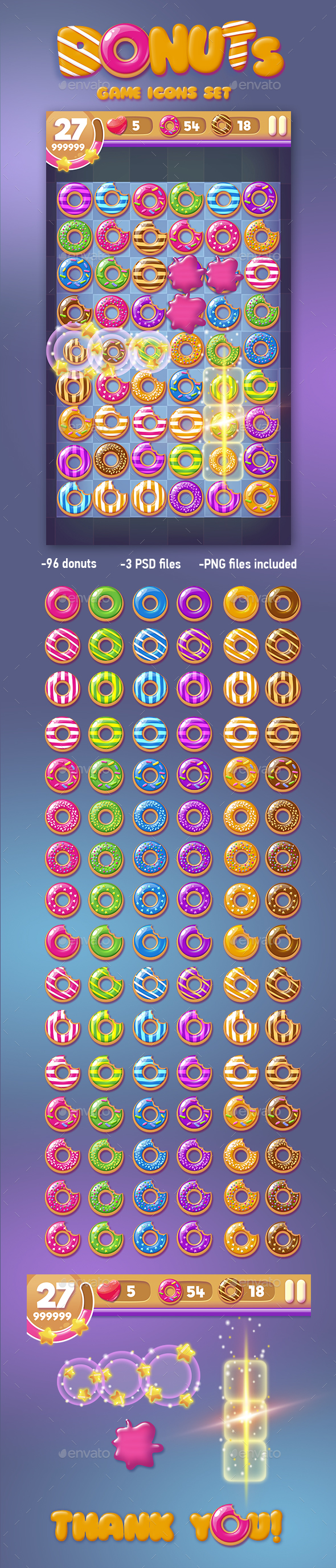 Donut Game Icons Set - Miscellaneous Game Assets