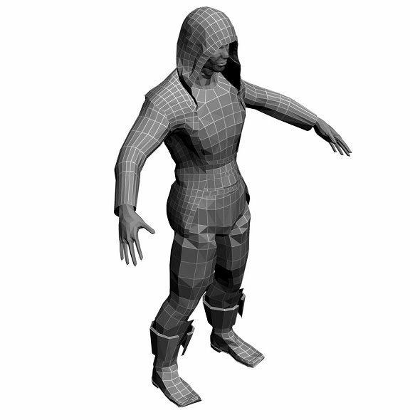 Low Poly Base Mesh Monah 3 - 3DOcean Item for Sale