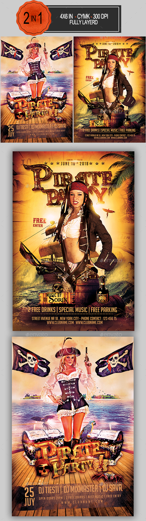 Pirate Party Flyer Bundle - Clubs & Parties Events