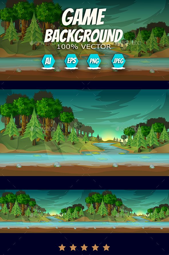 Forest Game Landscape - Backgrounds Decorative