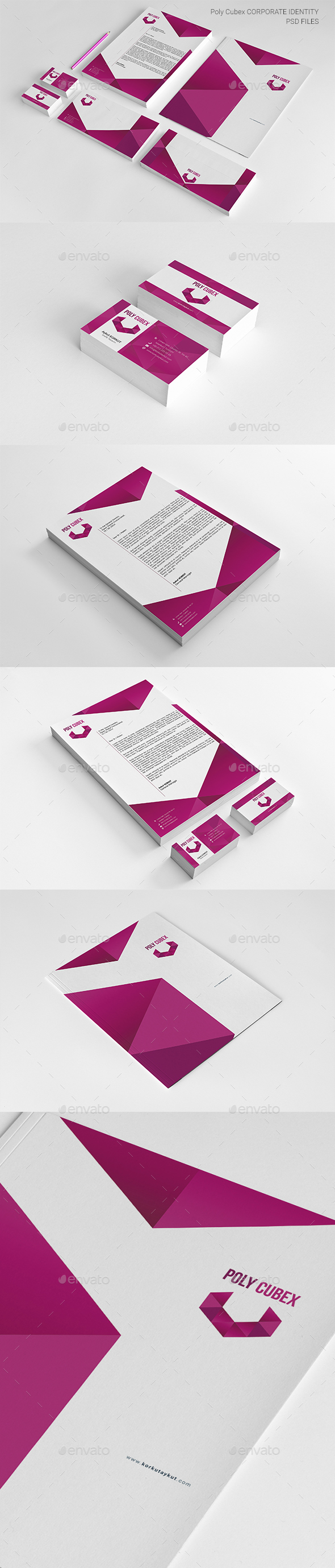 Poly Cubex Corporate Identity Package - Stationery Print Templates