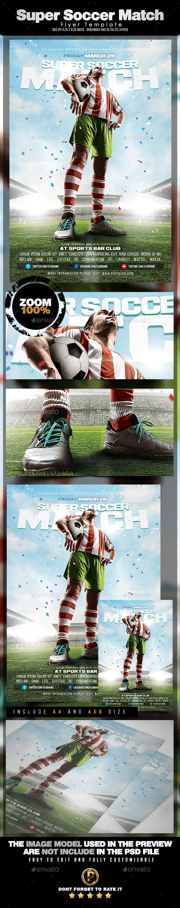 Super Soccer Match Flyer Template - Sports Events