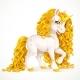 White Unicorn with Golden Mane Isolated