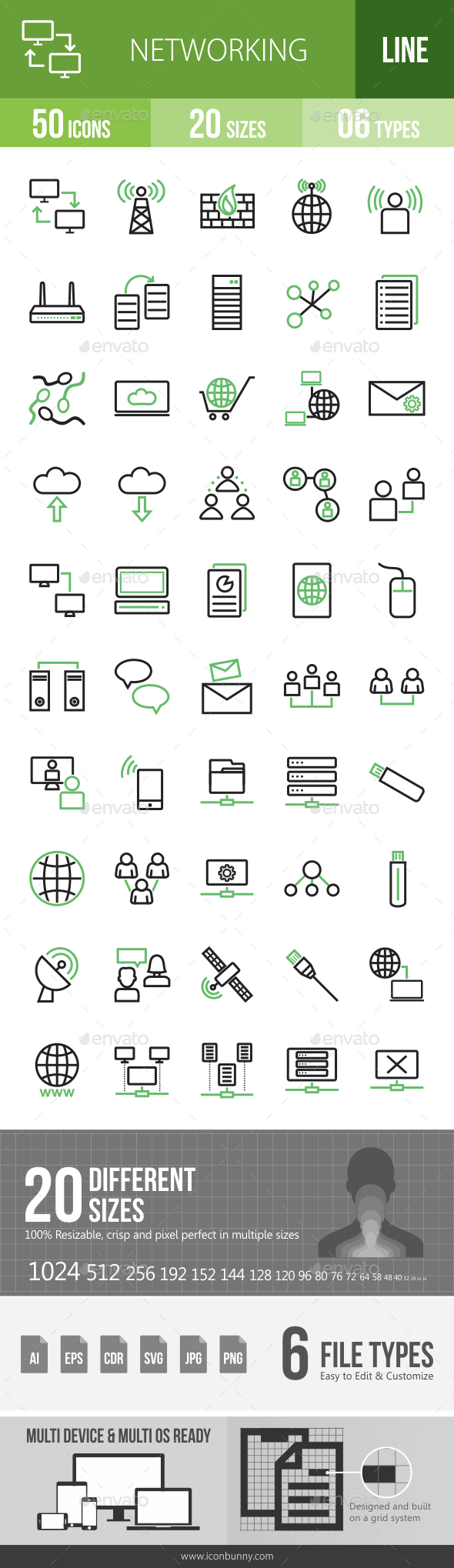 Networking Line Green & Black Icons - Icons