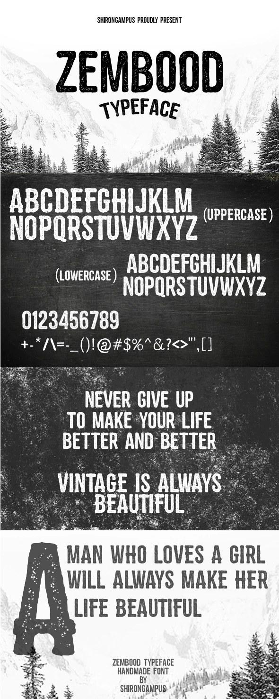 Zembood Typeface - Grunge Decorative