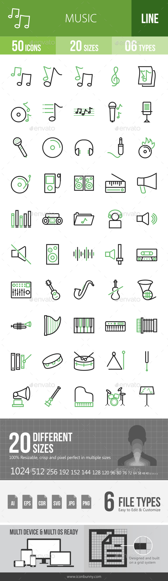 Music Line Green & Black Icons - Icons