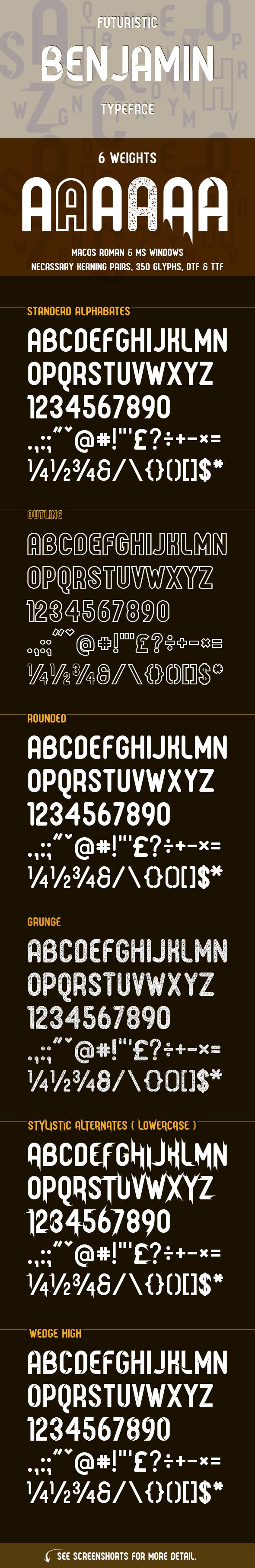 Benjamin Typeface - Futuristic Decorative