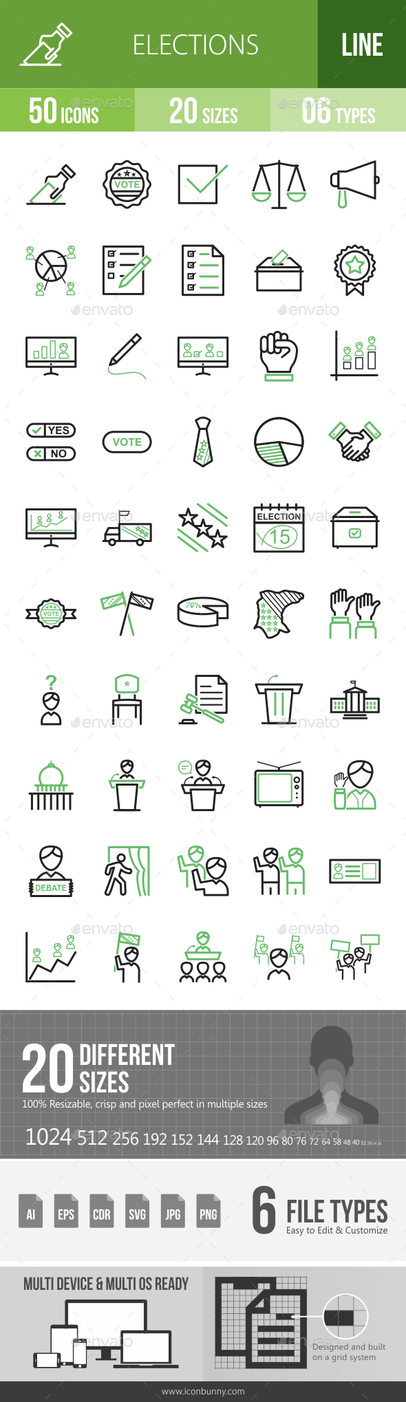 Elections Line Green & Black Icons - Icons