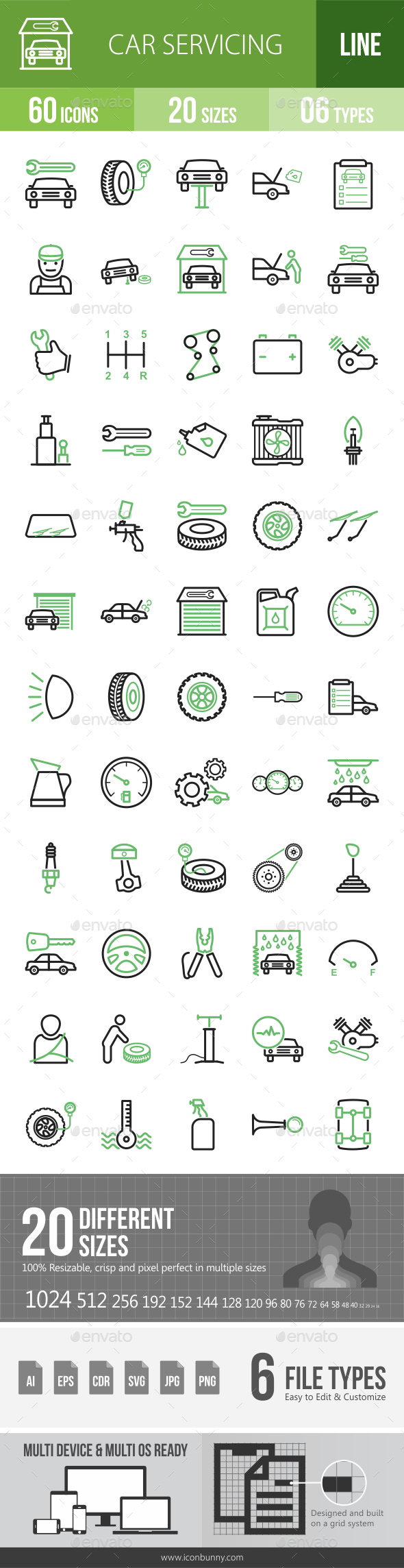 Car Servicing Line Green & Black Icons - Icons