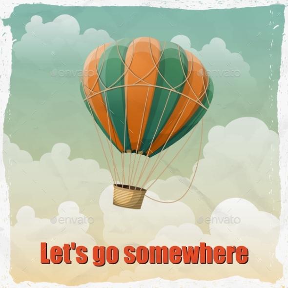 Vintage Hot Air Balloon in the Sky - Travel Conceptual