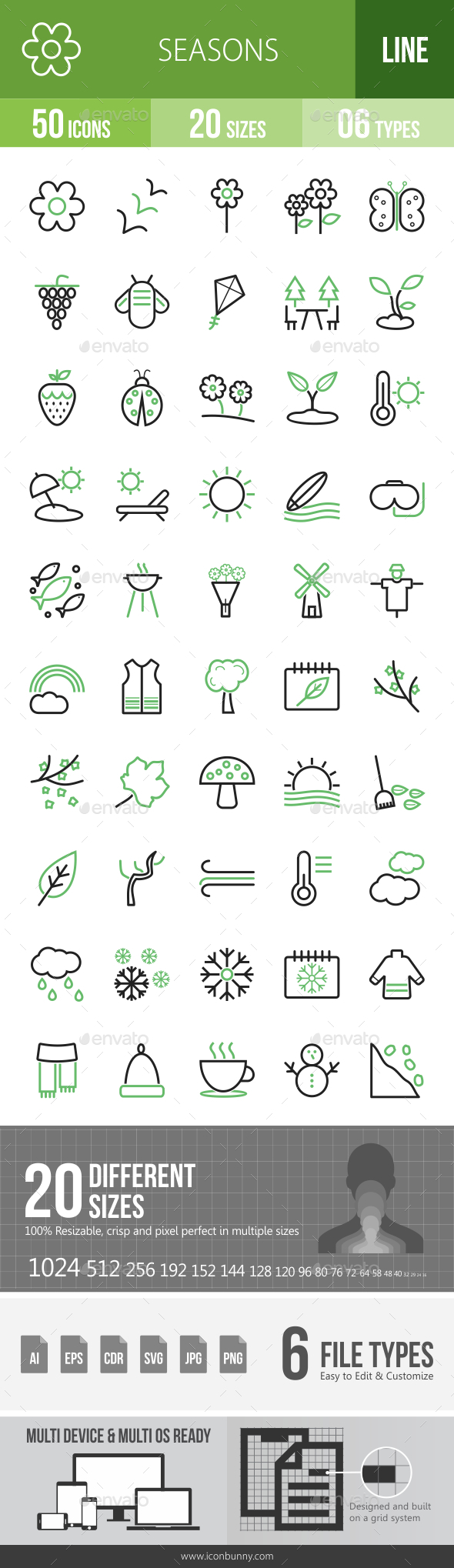 Seasons Line Green & Black Icons - Icons