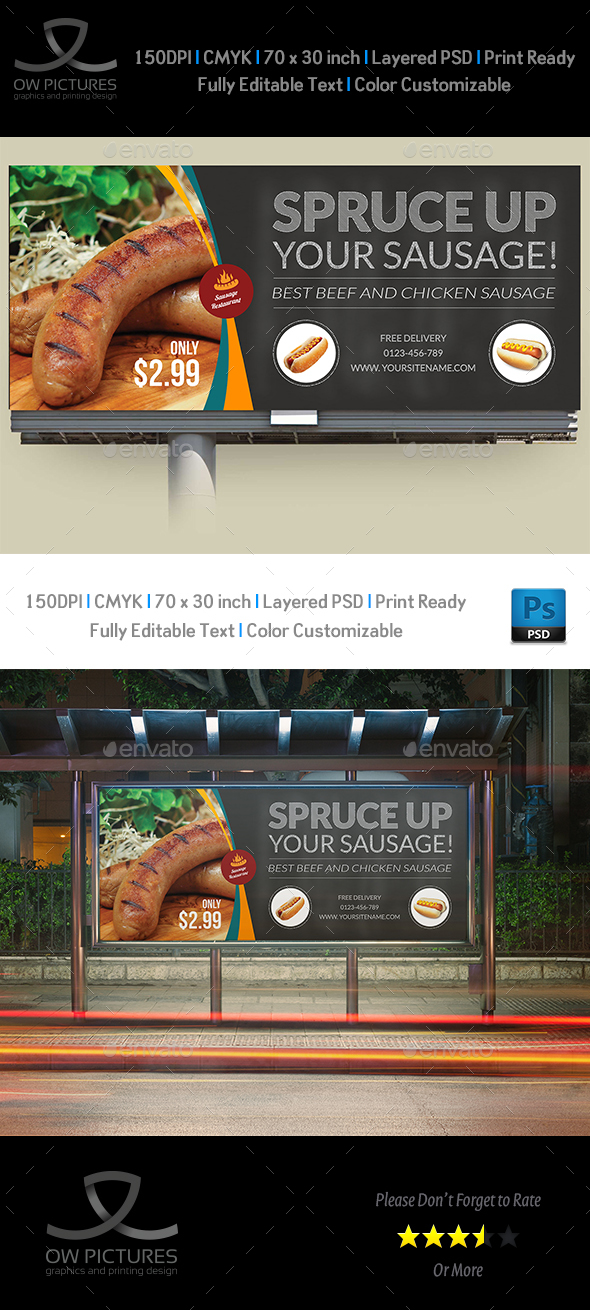 Sausage Restaurant Billboard Template - Signage Print Templates