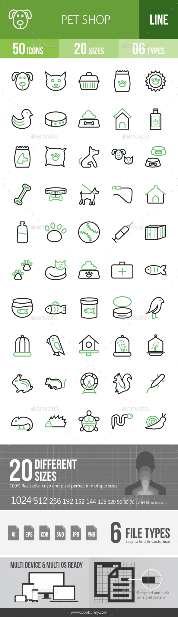 Pet Shop Line Green & Black Icons - Icons