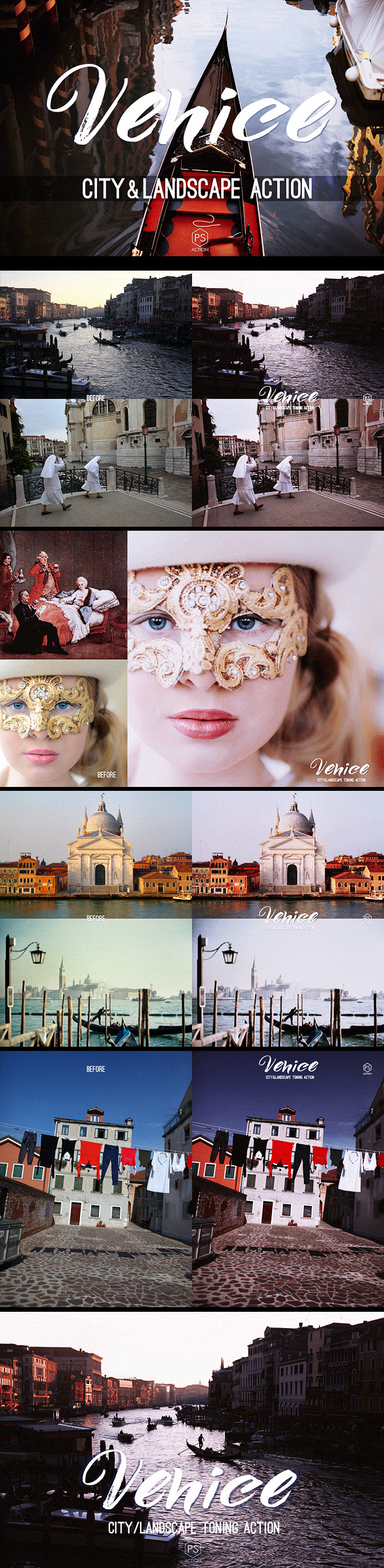 Venice Landscape Photoshop Action - atmospheric toning for urban, cityscape & landscape photography - Photo Effects Actions