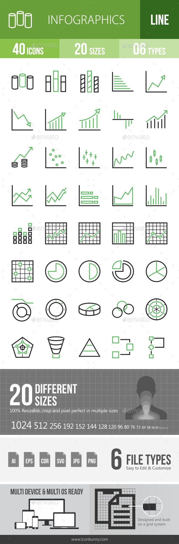 Infographics Line Green & Black Icons - Icons