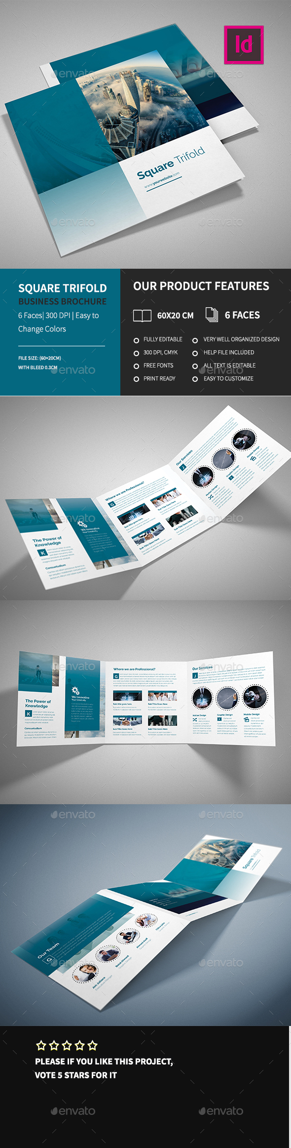 Corporate Square Trifold Business Brochure  - Corporate Brochures