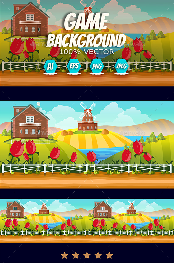 Farm Cartoon Background - Backgrounds Game Assets