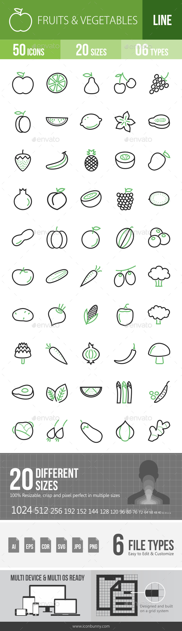 Fruits & Vegetables Line Green & Black Icons - Icons
