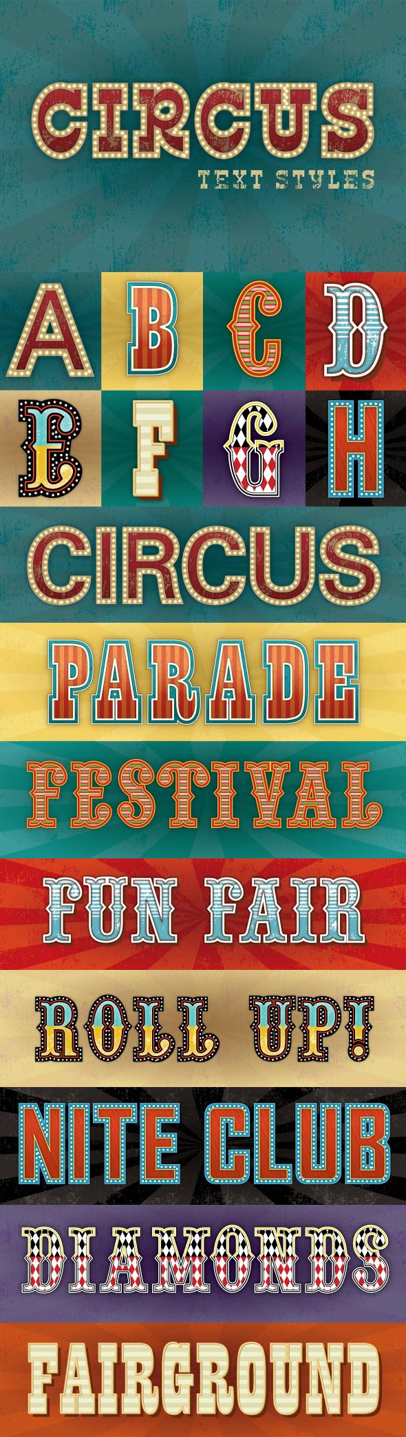 Circus Text Styles - Styles Illustrator
