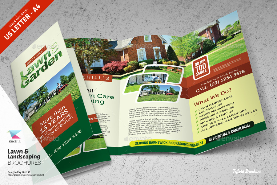 lawn  u0026 landscaping trifold and bifold brochure templates by kinzi21