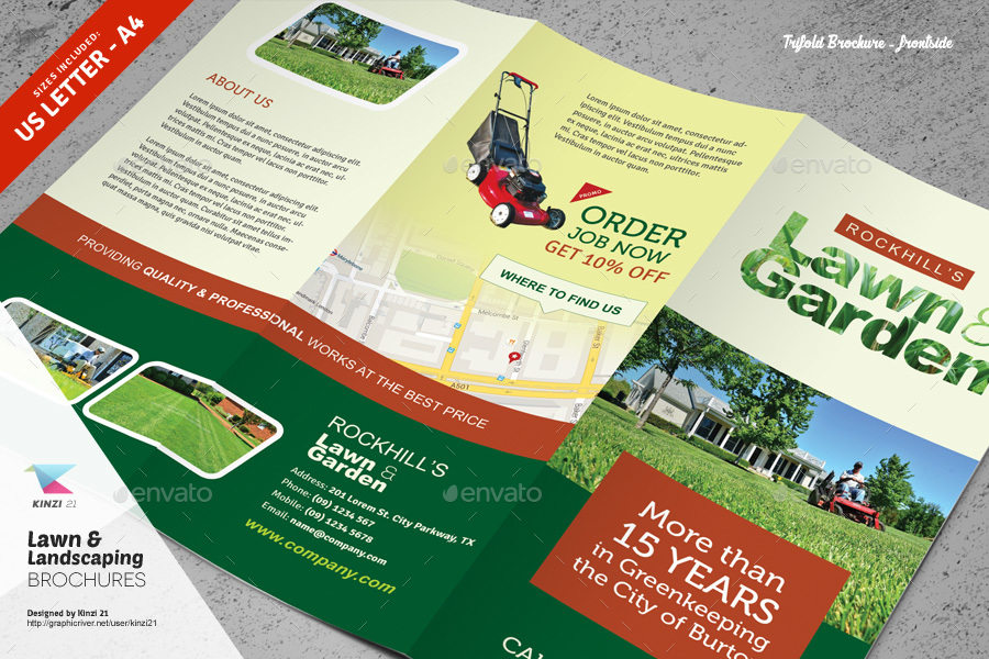 Lawn Landscaping Trifold And Bifold Brochure Templates By Kinzi - Bifold brochure template