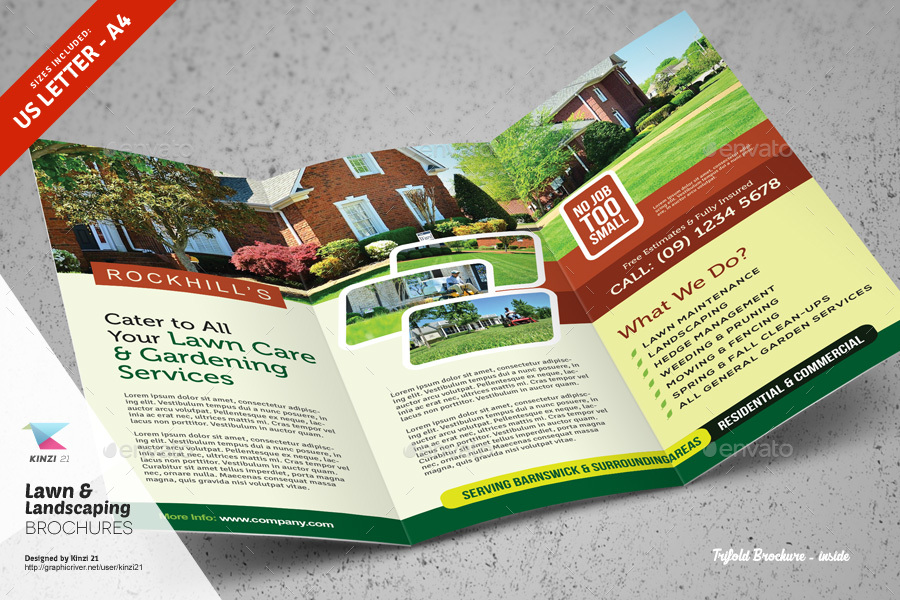 lawn  u0026 landscaping trifold and bifold brochure templates