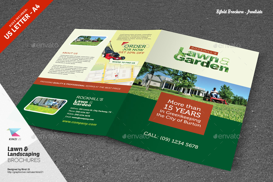 Lawn Landscaping Trifold And Bifold Brochure Templates By Kinzi21