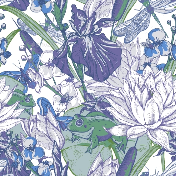 Vintage Pond Water Flowers Vector Seamless Pattern - Flowers & Plants Nature