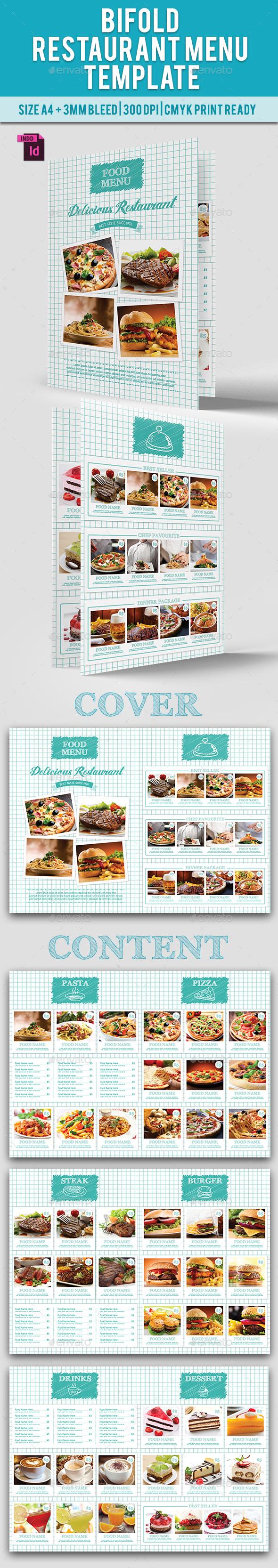 BiFold Restaurant Menu Vol. 10 - Food Menus Print Templates
