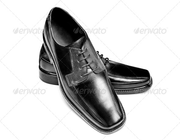 Black leather dress shoes - Stock Photo - Images