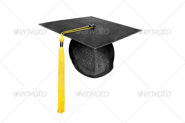 Graduation cap isolated on white - Stock Photo - Images