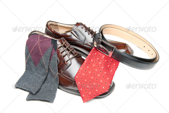 Brown dress shoes with red necktie - Stock Photo - Images
