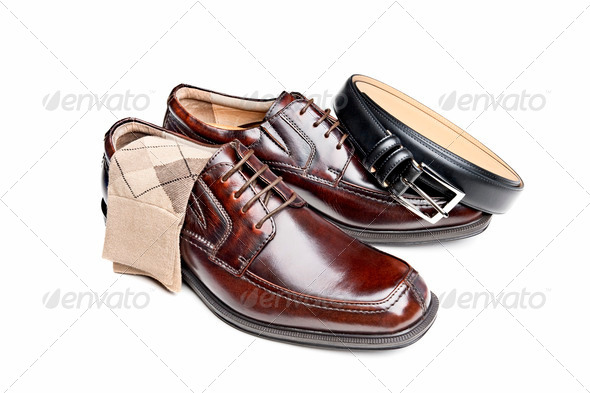Brown leather shoes with socks and belt - Stock Photo - Images