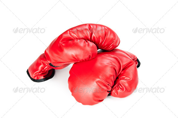Boxing gloves on white - Stock Photo - Images