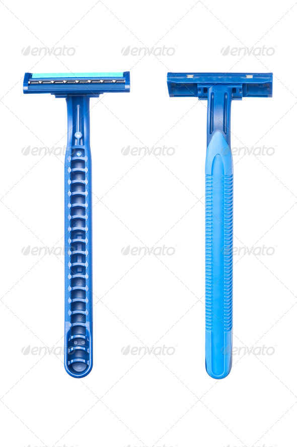 Blue disposable razor blade - Stock Photo - Images