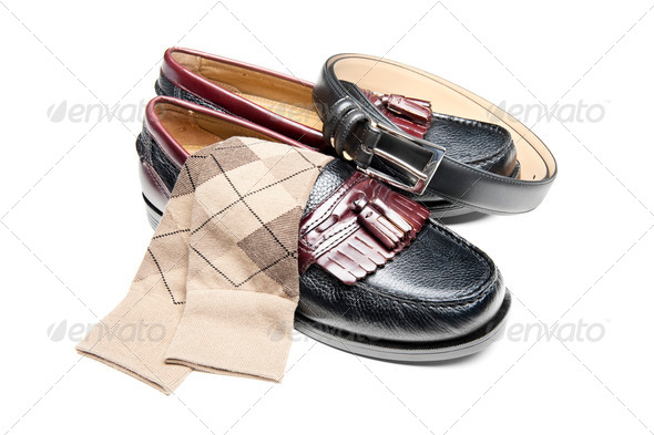 Black slip on dress shoes - Stock Photo - Images
