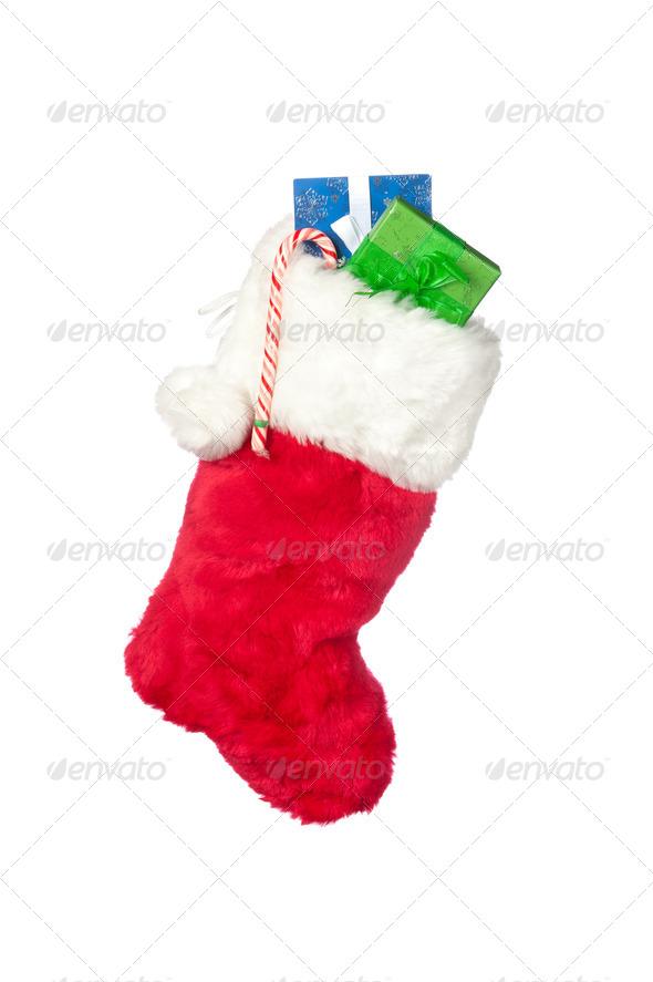 Christmas stocking isolated on white - Stock Photo - Images