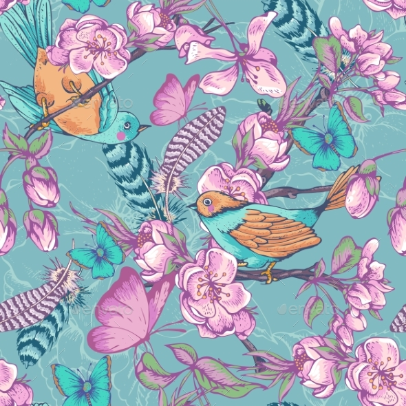Vintage Garden Spring Seamless Pattern - Flowers & Plants Nature