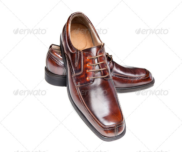 Brown leather shoes - Stock Photo - Images