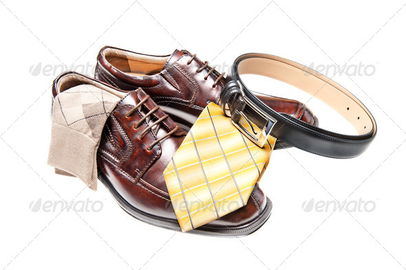 Brown leather shoes with necktie - Stock Photo - Images