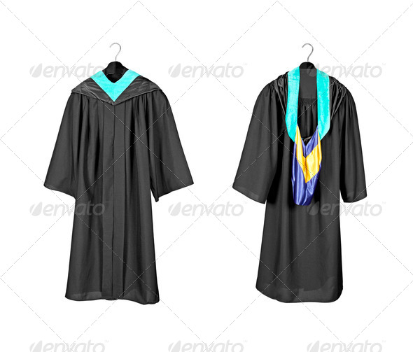 Graduation gown with hood - Stock Photo - Images