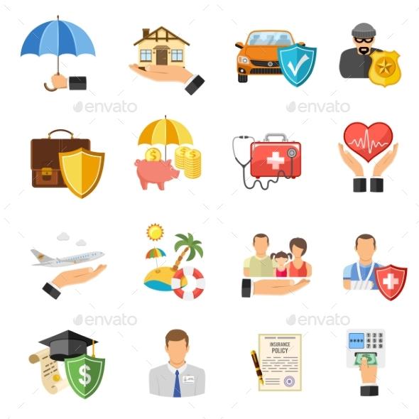 Insurance Flat Icons Set - Health/Medicine Conceptual