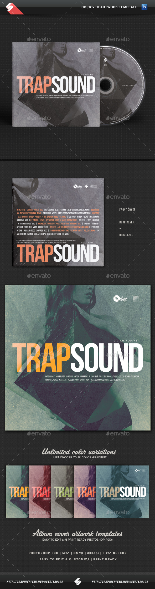 Trap Sound - CD Cover Template - CD & DVD Artwork Print Templates