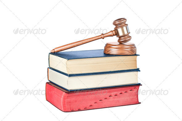 Books and gavel isolated on white - Stock Photo - Images