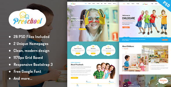 Preschool – Multipurpose Business PSD Template