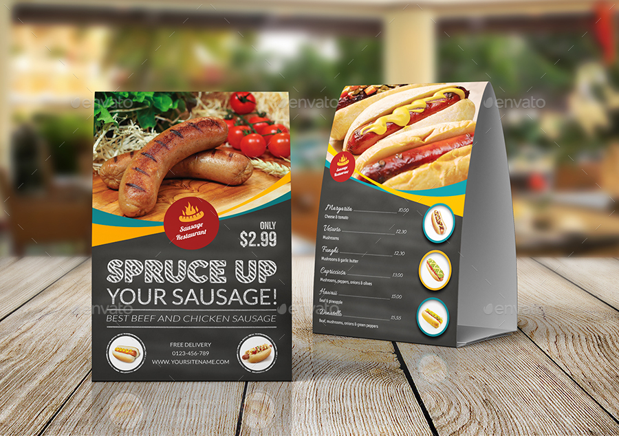 Sausage Restaurant Table Tent Template