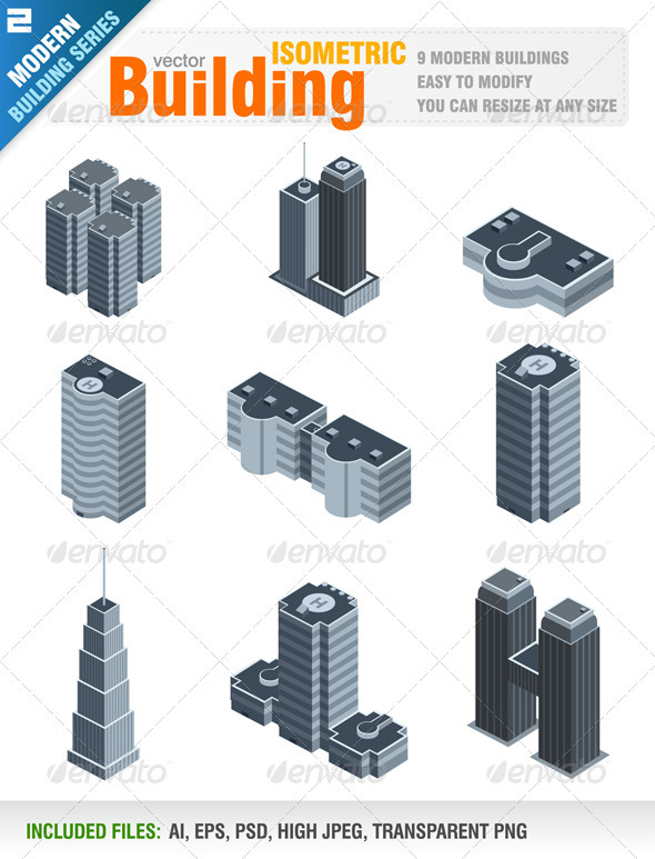 Modern Isometric Buildings - Buildings Objects