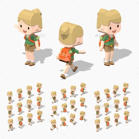 Low Poly Tourist Girl - People Characters